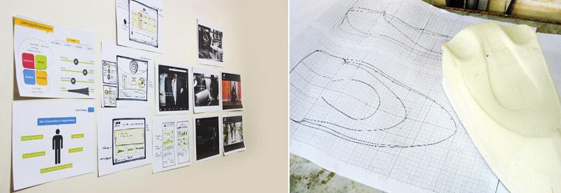 (راست) نمونه سازی حجمی ساخته شده از فوم پلی اورتان (چپ) نمونه هایی از اسکچ مدل