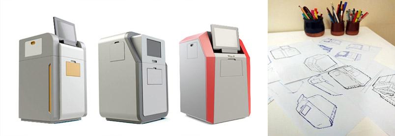 (راست) اسکچ های خطی دستی روی کاغذ (چپ) نمونه سازی کامپیوتری با هدف آزمون بازار