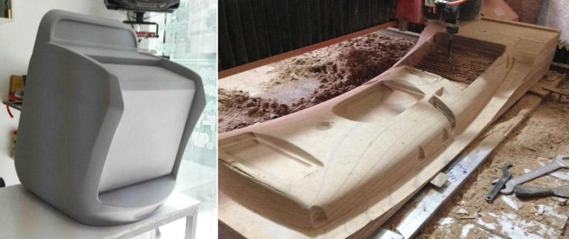 (راست) نمونه سازی پیش از تولید روی MDF با دستگاه CNC (چپ) نمونه سازی پیش از تولید روی فوم ئلی استایرن با دستگاه CNC