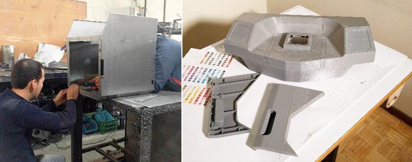 (راست) نمونه سازی سریع (3d print) با هدف بررسی مشکلات فنی (چپ) نمونه سازی پیش از تولید با ورق آهن