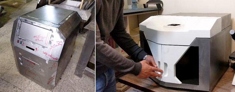(راست) نمونه سازی پیش از تولید با هدف آزمون مکانیزم (چپ) نمونه سازی پیش از تولید بدنه فلزی